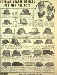 1916 Men's felts hats: bowler, homburg, fedora, newsboy etc