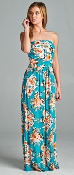 Floral Printed Maxi Dress - Turquoise - $35.00