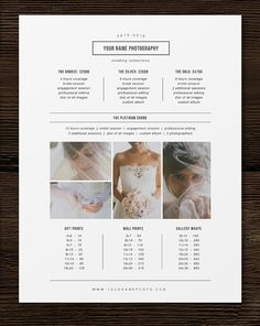 46 best price list images on pinterest in 2018 children pictures photography pricing template price list template photographer pricing guide wedding price list branding marketing designs wajeb Image collections