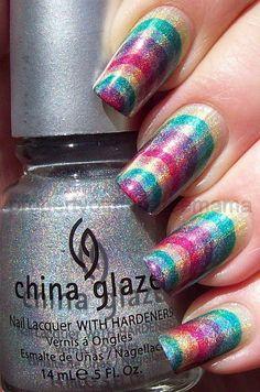 pretty rainbow stripe nails