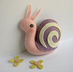 Felt Tiny Snail in Lavender and Pink