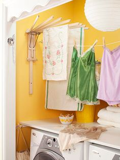 *Keep a Clothes Line Handy*  Save on electricity by letting delicates air-dry. An old-fashioned wooden drying rack fans out to let air circulate around items. Install a retractable clothesline on opposite walls or door facings. Pull the line out when you have clothes to hang and let it snap back into its receptacle when it's not in use.