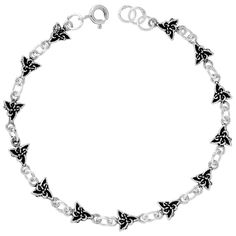 .925 Sterling Silver 10.00MM Cross Bracelet 7.50 inches