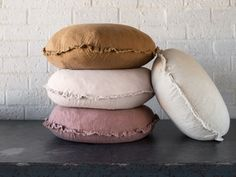 Flocca linen macaron cushion covers are delightful decorative shape finished with beautiful hand- tufted edges. Pure linen handcrafted in Europe. Linen Pillows, Linen Bedding, Cushions, Bakery Interior, Home Interior Design, Beige Bed Linen, Bed Linen Design, House Beds, Cushion Covers