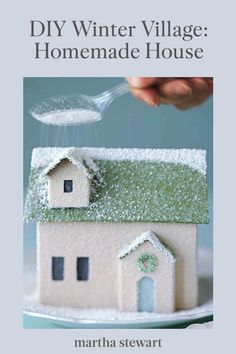 "This holiday season, follow our step-by-step tutorial for a charming winter house covered in shimmering snow. Finished with a sprinkling of glitter ""snow,"" this little homemade house is ready to join its neighbors in a twinkling DIY holiday village. #marthastewart #christmas #diychristmas #diy #diycrafts #crafts White Christmas Trees, Christmas Crafts, Christmas Mantles, Silver Christmas, Victorian Christmas, Christmas Christmas, Christmas Village Houses, Christmas Villages, Shabby Chic Christmas"