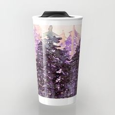 NORTHWEST VIBES Colorful Watercolor Painting Forest Trees Violet Green Modern Nature Art West Coast Coffee Travel Mug by Ebi Emporium Artist Julia Di Sano, #coffeecup #coffeemug #travel #travelmug #art #design #office #trees #portland #forest #seattle #vancouver #pnw #drinkware #kitchen #watercolor #painting #purple