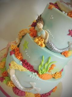 mermaids cake for ellas birthday.. she likes the mermaids from the show H2o on netflix.. she wants 3 or 4 mermaids..