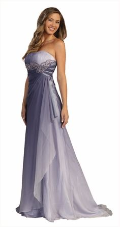 Strapless Long Purple Ombre Formal Dress Empire Asymmetrical Layer $207.99