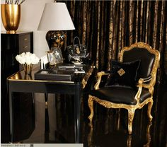 Ralph Lauren Home One Fifth Collection Black and Gold Art Deco Feminine Cat New York City Shiny Glamorous Style