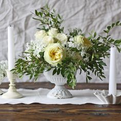 Antique White Compote Vase Urn sizes) – The Wedding of My Dreams Wedding Table Centerpieces, Floral Centerpieces, Oasis Foam, Wedding Decorations For Sale, Small Urns, Funeral Arrangements, Urn Vase, Wedding Table Flowers, Container Flowers