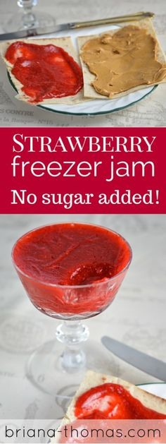 Strawberry Freezer Jam  -       2 cups strawberry puree (blend strawberries in a blender until smooth)     Dash of lemon juice     ¾ tsp. glucomannan     ¾ tsp. Knox gelatin*     1 T THM Super Sweet Blend