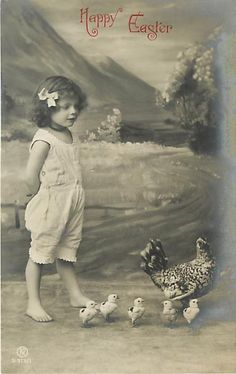 Real Photo Easter Little Girl Wearing Hair Bow Chickens
