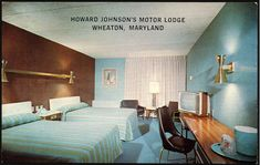 BlackBook (Mid Century Modern Motel Postcards) Amazing HoJo rooms frozen in time. One paneled accent wall looks very relevant even today. Check out that crazy sconce over the beds.