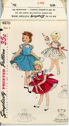 Childs Dress and Doll Clothes Pattern Simplicity 4870 1950s Full Skirt Jumper and Dress Breast 21 Childrens Vintage Sewing Pattern UNCUT. $24.00, via Etsy.