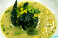 Joshua Valentine's Roasted Corn and Coconut Soup with Mussels