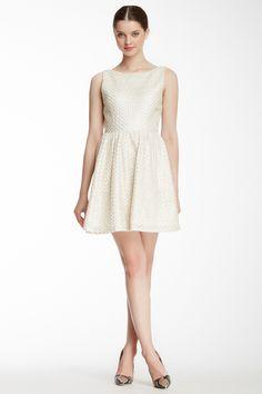 alice & olivia Marla Boatneck Cutout Back Silk Lined Dress in Silver