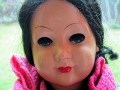 Zelluloid*Schildkröt Puppe 350 / 49 schwarzes Echthaa