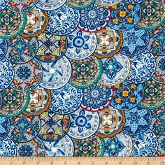Fiesta Plates Blue from @fabricdotcom  Designed for Elizabeth's Studio, this cotton print fabric is perfect for quilting, apparel, crafts, and home decor items. Colors include blue, white, red, yellow, green, and grey.