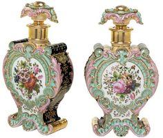 Jacob Petit porcelain, polychrome scent bottles and stoppers Ari Perfume, Antique Perfume Bottles, Vintage Perfume Bottles, Fine Porcelain, Porcelain Ceramics, Home Decoracion, Beautiful Perfume, Marie Antoinette, Harems