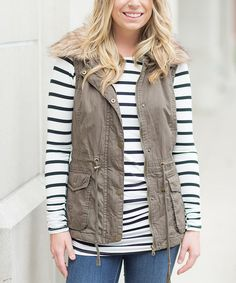 Look at this Olivia & Jane Olive Faux Fur-Collar Vest on #zulily today!