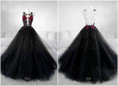 🥀 Secret Garden Gown ❤❤❤ By Askasu Grad Dresses, Black Wedding Dresses, Ball Dresses, Ball Gowns, Evening Dresses, Formal Dresses, Ivory Wedding, Moda Medieval, Mode Kpop