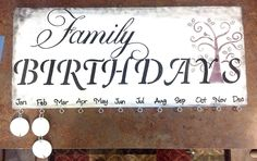 Family Birthday Board Wall hanging, reminder, calendar, organizer, family tree plaque - pinned by pin4etsy.com