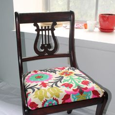 Take an old chair from dated to darling with some fun fabric, foam and some elbow grease. A new seat cushion makes a sad seat stylish again.