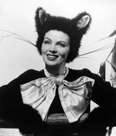 Dusty Anderson in a black cat Halloween costume, 1945. #vintage #1940s #pinups