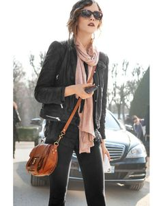 black outfit, neautral scarf