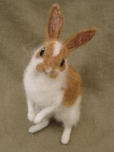 Rabbit with caramel colored spots, needle felted animal, Easter bunny