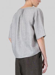 MISSY Clothing - Linen Slip-on Half Sleeve Blouse