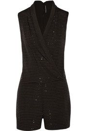 W118 by Walter BakerGabby wrap-effect bead-embellished satin playsuit