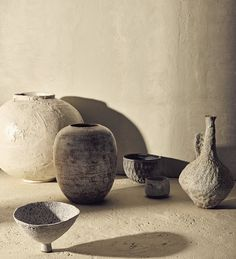"scandinaviancollectors: ""Contemporary ceramic art: No. vase with cracked Shino glaze, Dora Good's hand-thrown stoneware vase, a textured glaze cereal bowl by Akiko Hirai and a terracotta tea bowl, jug..."