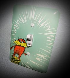 these are so much fun! A great accent to any room, especially a themed nursery. your children's artwork, favorite character. Match paint colors, etc! there are lightswitch covers and outlet covers<br> Light Switch Art, Light Switch Covers, Dr Seuss Nursery, Girl Nursery, Nursery Themes, Themed Nursery, Nursery Ideas, Bedroom Ideas, Matching Paint Colors