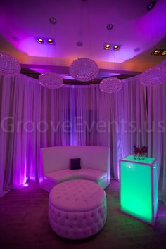 Sheers, furniture, uplighting & glow cubes by GrooveEvents.us