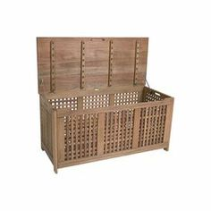 """Indoor/outdoor eucalyptus wood storage box with an aluminum frame and open design. Product: Outdoor storage trunkConstruction Material: Eucalyptus and aluminum  Color: Brown  Features: Suitable for indoor and outdoor use Dimensions: 24"""" H x 49"""" W x 21"""" D   Note: Some assembly required"""