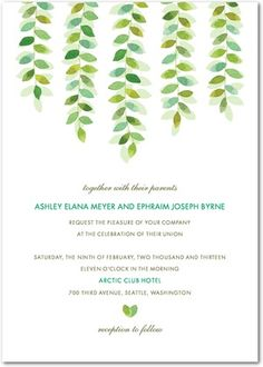 Signature White Textured Wedding Invitations Secret Willow - Front : Spring Green