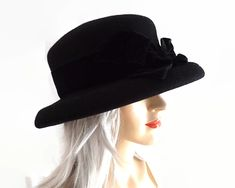 Laura Ashley black wool hat with rolled under brim and black velvet ribbon band and bow, 1990s by CardCurios on Etsy