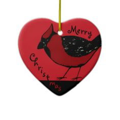 CARDINAL BIRD  RED & BLACK Ornament