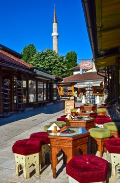 Bascarsija, Sarajevo - Lined with shops and cafes along marble-flagged streets, the bustling old Turkish quarter of Bascarsija Sarajevo is the heart of city's old town.
