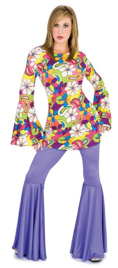 Flower Power Disco or Hippie Costume - Disco and Hippie Costumes - Pants and Shirt included