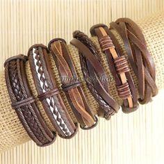 6pcs Wholesale Handmade genuine charm leather wrap bracelets for men -D120