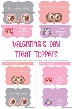 Printable owl treat toppers for valentine's day