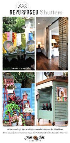 100 + Repurposed Shutters / sliding doors, furniture and beyond! via FunkyJunkInteriors.net
