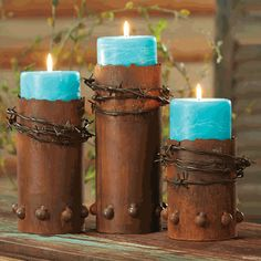 Barbed Wire Candle Holders with Candles - Set of 3