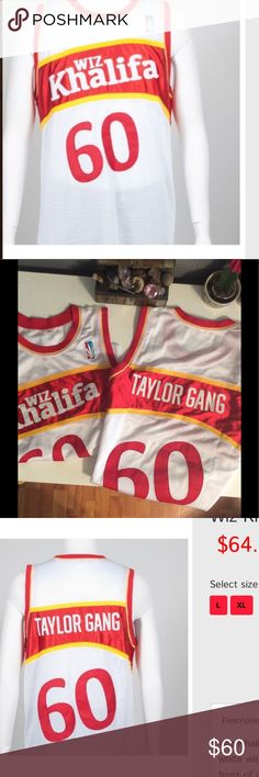 """Vintage Taylor Gang jersey Wiz Khalifa VintageBasketball Jersey - This men's sleeveless baseball jersey in white with red trim, features a big red number """"60"""" below """"Wiz Khalifa"""" printed in white in front of a slanted red rectangular background with yellow outline.   They call this vintage but dude isn't vintage so how can his clothing line be? ☺️. Price for two will be half off the second one. wiz khalifa  Shirts Tank Tops"""