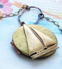 Brass Sailboat Locket Necklace