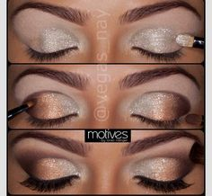 Silver and Bronze eye make-up -- Party makeup ideas Beautiful Eye Makeup, Pretty Makeup, Love Makeup, Makeup Tips, Makeup Looks, Makeup Ideas, Makeup Tutorials, Easy Makeup, Gorgeous Eyes