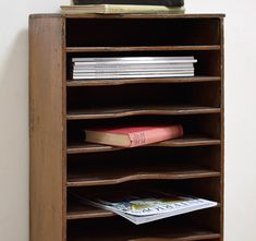Victorian pine office stationery shelf #storage #office #vintagedecor
