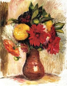 Bouquet Of Flowers In An Earthenware Pitcher by Pierre Auguste Renoir Handmade oil painting reproduction on canvas for sale,We can offer Framed art,Wall Art,Gallery Wrap and Stretched Canvas,Choose from multiple sizes and frames at discount price. Pierre Auguste Renoir, Edouard Manet, Camille Pissarro, Edgar Degas, Canvas Art Prints, Painting Prints, Canvas Canvas, August Renoir, Renoir Paintings